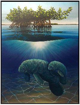 Wyland Manatees in the Mangroves - Wyland Gallery Sarasota